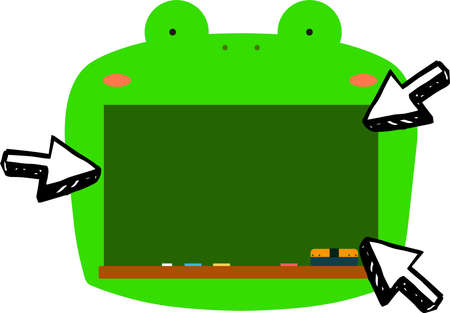 This is a illustration of Cute frog blackboard
