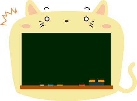 This is a illustration of Cute Cat blackboard Ilustração