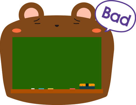 This is a illustration of Cute Bear blackboard 스톡 콘텐츠 - 133438401
