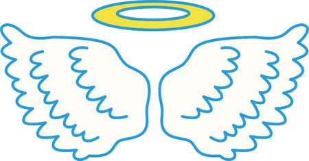 This is a illustration of Cute Angel wings with angel ring