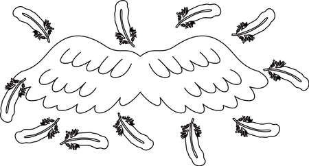 This is a illustration of Angel wings of feathers fluttering