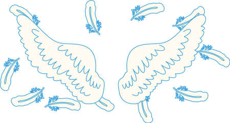 This is a illustration of Angel wings of feathers fluttering Stock fotó - 135063297