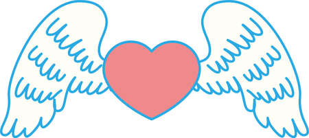 This is a illustration of Cute Angel wings with Love Heart