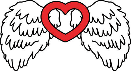 This is a illustration of Cute Angel wings with Love Heart Banque d'images - 135063780