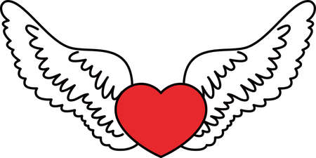 This is a illustration of Cute Angel wings with Love Heart Banque d'images - 135063794