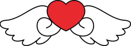 This is a illustration of Cute Angel wings with Love Heart Banque d'images - 135063800