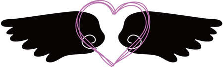 This is a illustration of Cute Angel wings with Love Heart Banque d'images - 135064049