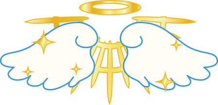 This is a illustration of Divine Angel wings with halo