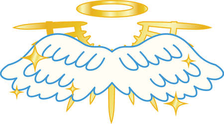 This is a illustration of Divine Angel wings with halo Ilustrace