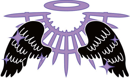 This is a illustration of Divine Angel wings with halo Illusztráció