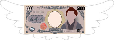 This is a illustration of Feathered Deformed Japan's 5000 yen note 일러스트