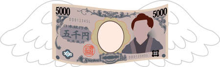 This is a illustration of Feathered Deformed Japan's 5000 yen note