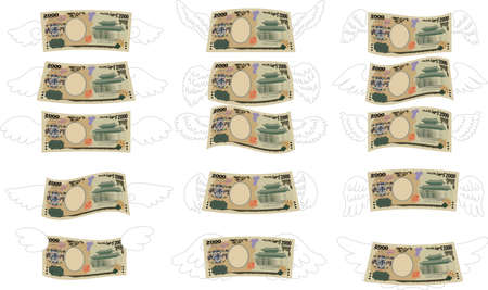 This is a illustration of Feathered Deformed Japan's 2000 yen note Banque d'images - 135068642