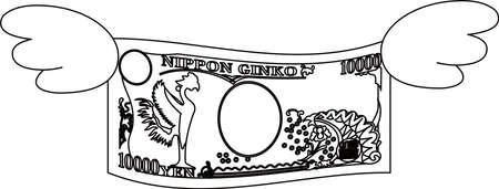 This is a illustration of Feathered Back side of Deformed Japanese 10000 yen note