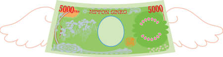 This is a illustration of Feathered Back side of Deformed Japanese 5000 yen note