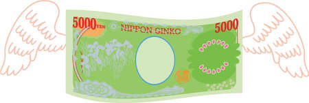 This is a illustration of Feathered Back side of Deformed Japanese 5000 yen note Banque d'images - 135071969