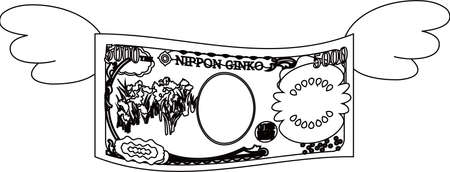 This is a illustration of Feathered Back side of Deformed Japanese 5000 yen note Banque d'images - 135072067