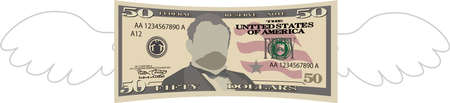 This is a illustration of Feathered Deformed 50 dollars note Banque d'images - 135084001
