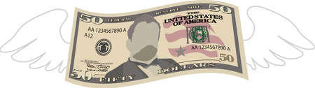 This is a illustration of Feathered Deformed 50 dollars note Banque d'images - 135083926