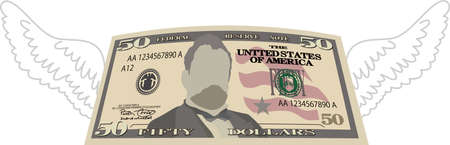 This is a illustration of Feathered Deformed 50 dollars note Banque d'images - 135083895