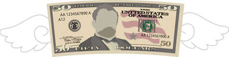 This is a illustration of Feathered Deformed 50 dollars note Banque d'images - 135084074