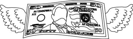 This is a illustration of Feathered Deformed 50 dollars note Banque d'images - 135084042