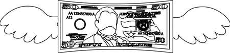 This is a illustration of Feathered Deformed 50 dollars note Banque d'images - 135083938