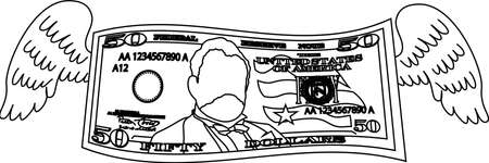 This is a illustration of Feathered Deformed 50 dollars note Banque d'images - 135083887