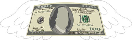 This is a illustration of Feathered Deformed 100 dollars note Banque d'images - 135084210