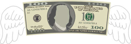 This is a illustration of Feathered Deformed 100 dollars note Banque d'images - 135084214