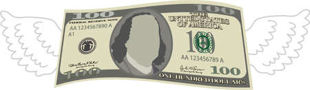 This is a illustration of Feathered Deformed 100 dollars note Banque d'images - 135084202