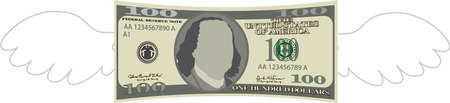 This is a illustration of Feathered Deformed 100 dollars note Banque d'images - 135084211
