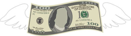 This is a illustration of Feathered Deformed 100 dollars note Banque d'images - 135084213