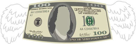 This is a illustration of Feathered Deformed 100 dollars note Banque d'images - 135084206