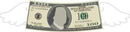 This is a illustration of Feathered Deformed 100 dollars note Banque d'images - 135084222