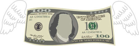 This is a illustration of Feathered Deformed 100 dollars note Banque d'images - 135084228