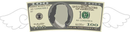 This is a illustration of Feathered Deformed 100 dollars note Banque d'images - 135084241