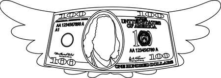 This is a illustration of Feathered Deformed 100 dollars note Banque d'images - 135084223