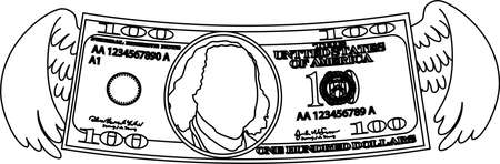 This is a illustration of Feathered Deformed 100 dollars note