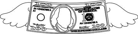 This is a illustration of Feathered Deformed 100 dollars note Banque d'images - 135084242