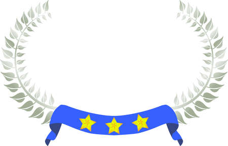 This is a illustration of Wide Round frame of laurel and three star Ribbon