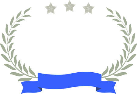 This is a illustration of Wide Round frame of three star laurel and Ribbon  Ilustração
