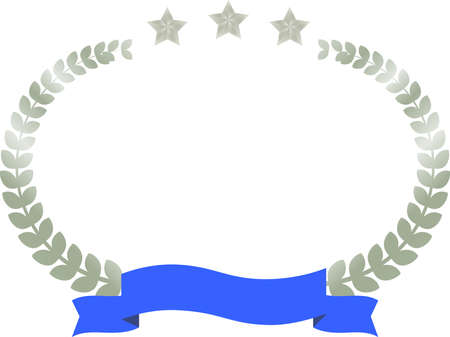 This is a illustration of Wide Round frame of three star laurel and Ribbon