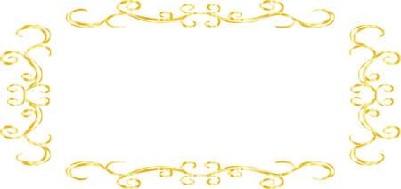 This is a illustration of Horizontal rectangular antique pattern frame  Ilustração