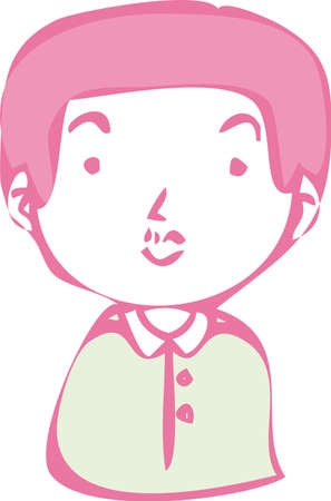 This is a illustration of Rough doodling Hand painted cute Smiling people icon
