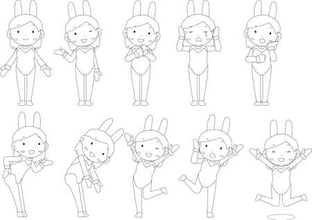 This is a illustration of Cute pose of cute bunny girl