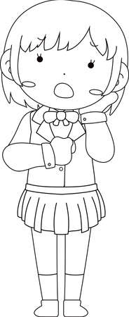 This is a illustration of pose of cute Black hair schoolgirl