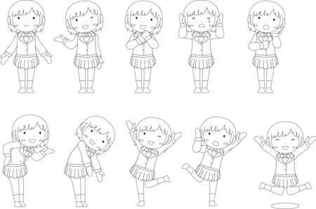 This is a illustration of pose of cute Black hair schoolgirl Иллюстрация