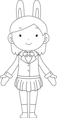 This is a illustration of cosplayer girl in a sailor suit with Rabbit ears