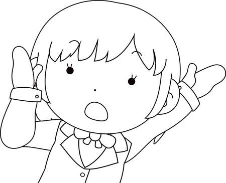 This is a illustration of Cute pose of cute Brown hair schoolgirl Upper body